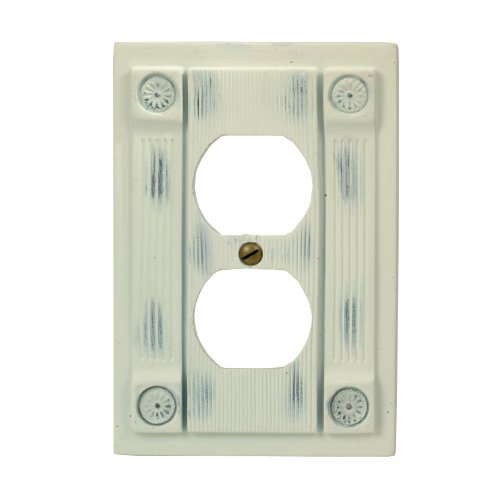 (AmerTac 8302DAW Rosette Resin Single Duplex Outlet Wallplate, Antique White)