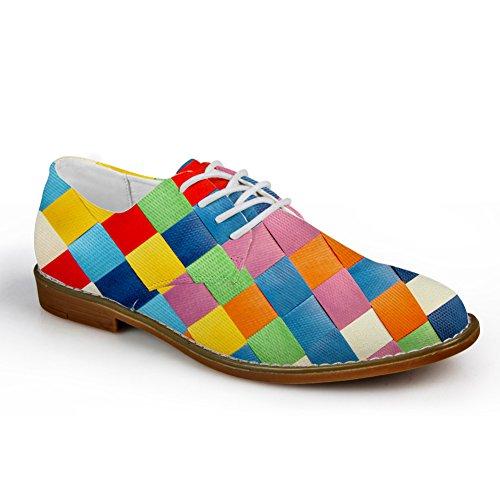 Hugs Idea Plaid Hombres Moda Oxford Vestido Zapato Colorido 4