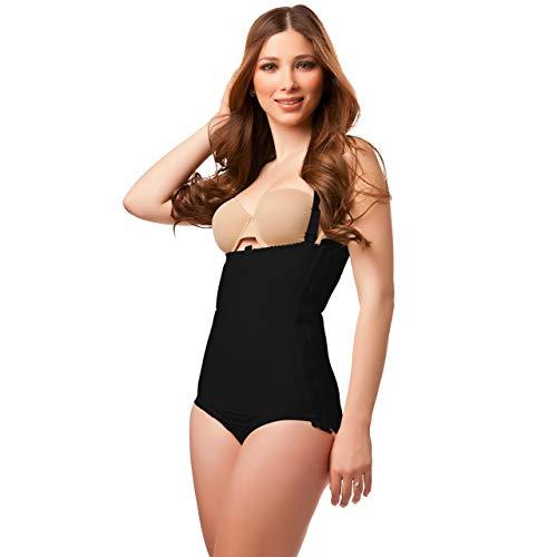 (Isavela Body Suit Panty Length W/Suspender Plastic Surgery Compression Garment W/Zipper (BS01) (XL, Black))