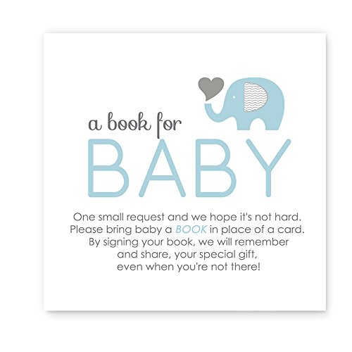 Elephant Bring a Book for Baby Shower Insert Card Blue & Grey (25pc.) (Baby Shower Invitations Books)