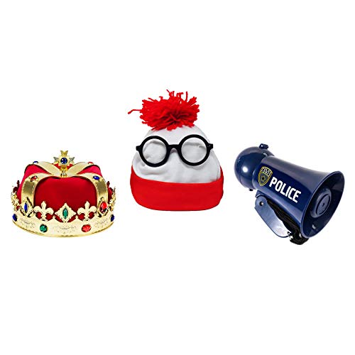Kids Party Costume Bundle - 3-Piece Set | Kings Crown, Beanie with Nerd Glasses & ()
