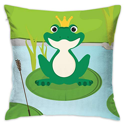 QIPNVY Decorative Throw Pillow Covers 18 X 18 Inch, Green Frog in Crown Pillow Cover Outdoor Cushion Covers Square Pillow Cases with Hidden Zipper