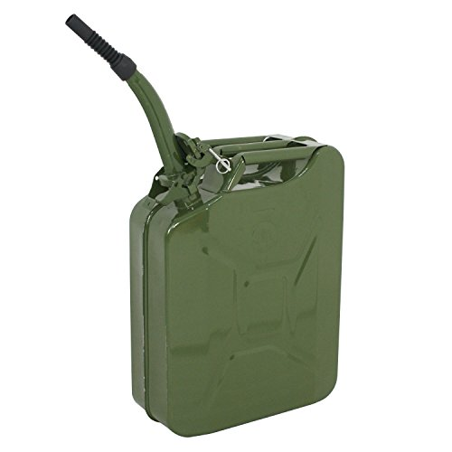 (Clever Market Gas Tank Jerry Can Automotive Fuel Steel Tank Emergency Backup NATO Army Gasoline Military Tank 5 Gal 20L)