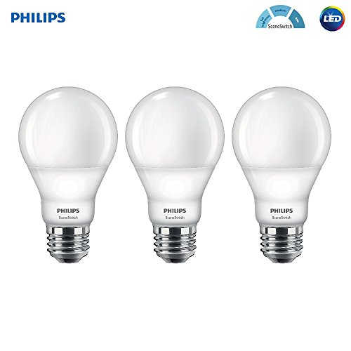 Philips LED A19 SceneSwitch Daylight 3-Setting Light Bulb: Bright/Medium/Low (60-Watt Equivalent) E26 Base, 3-Pack