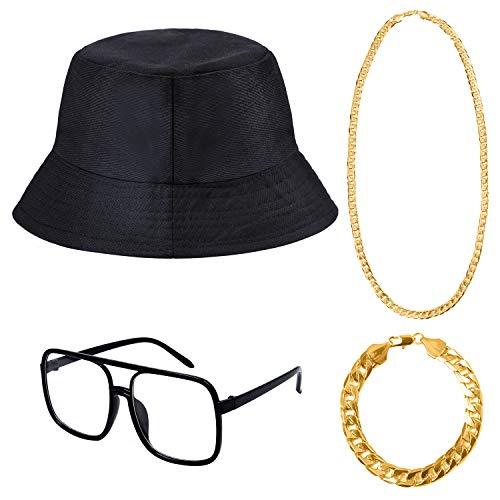 Cooraby 4 Pack Hip Hop Costume Necklace Bracelet Bucket Hat Sunglass for 80 90s -