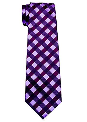 Retreez Classic Check Woven Microfiber Boy's Tie (8-10 years) - Purple and Light Purple Check