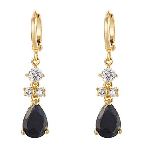 YAZILIND Women Luxury 18K Gold Plated Black Tear Drop Hoop Dangle Drop Earrings Gift (Earrings Gold Plated Earrings)