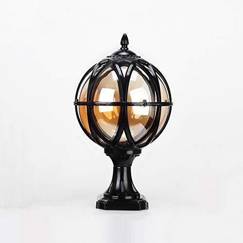 Column Lamp Black Table (Hines European Glass Post Garden Lights Outdoor Decorative Columns Post Lamp Retro Waterproof Table Lamp Landscape Lighting Fixtures Villa Garden Lamps 1-Light E26/27 Base (Color : Black, Size : S))