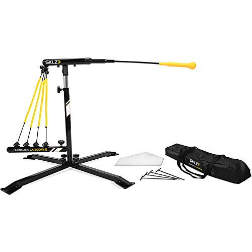 SKLZ Hurricane Category 4 Batting Trainer, Solo Swing Trainer for Baseball and Softball, Tee Practice or Dynamic Moving Target, Adjustable Height for any Player or Ball Position, Develop Swing Power by SKLZ