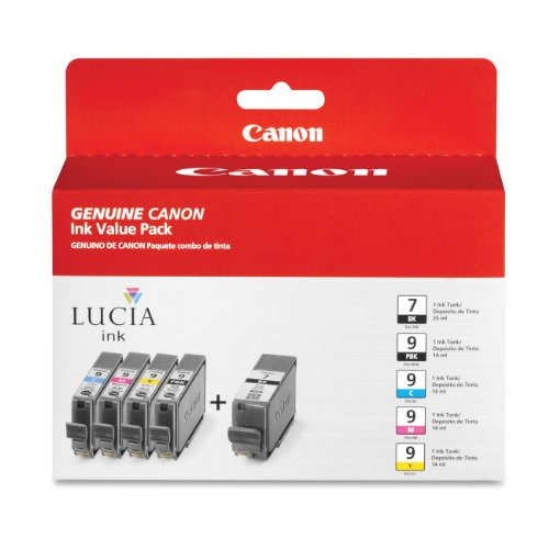 Canon CNMPGI9PGI7 Value Pack, Black, Cyan, Magenta, Yellow, Photo Black, Inkjet, 1 / Pack (1 Pgi 9pbk Photo)