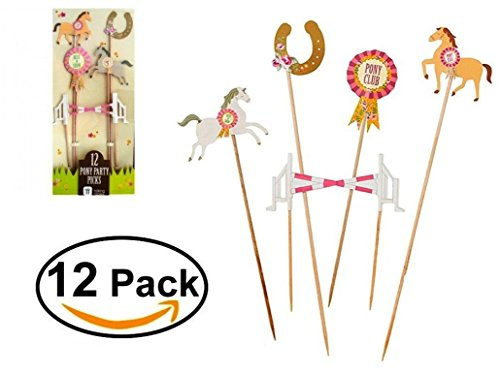Pony Party Picks Set (Pack of 12) Wooden Food Picks/Cake Toppers Perfect For Pony Themed Party Dessert, Cocktail Or Swizzle (Horse Topper)
