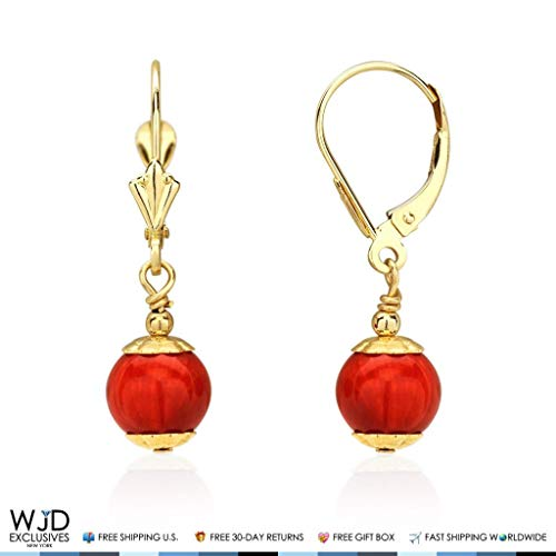 (14K Solid Yellow Gold Red Coral Ball Leverback Dangle Earrings)