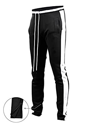 Screenshotbrand Mens Hip Hop Premium Slim Fit Track Pants - Athletic Jogger Bottom with Side Taping