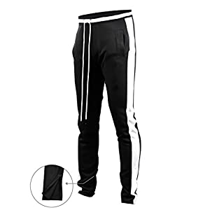 Screenshotbrand Mens Hip Hop Premium Slim Fit Track Pants – Athletic Jogger Bottom with Side Taping