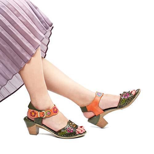 Hecho 37 Gracosy 2019 A Mano Tacón Grande Dedo Mujer De Chanclas Talla Zapatos verde Medio Verano Naranja Bohemia 42 Romanas Cuero Café Para Sandalias Estilo Los A w1wcrC6Rq