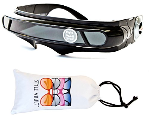 V138-vp Robocop Robot Censored Party Sunglasses (B3300F Black-Dark, (Terminator Arm)