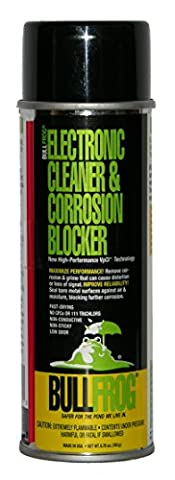 BullFrog Electronic Cleaner & Corrosion Blocker. New High-Performance VpCI Technology, removes corrosion and grime that can cause distortion or loss of signal. Improves reliability by sealing bare metal surfaces against air and moisture. Cleans and protects: Audio, Video Computer & Electronic Cables, Connectors, Battery Terminals, Satellite Dish Connections, Relays & Sensors and (Corrosion Blocker)