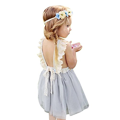 (Birdfly Little Girls Fairy Lace Princess Dress Ruffles Ballerina Tulle Tutu Toddlers Dress Up Outfits for Wedding Party (6T, Sleeveless))
