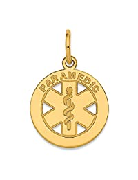 14k Yellow Gold Small Paramedic Medical Alert Pendant Charm Necklace Career Professional Fine Jewelry Gifts For Women For Her