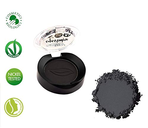 PuroBIO Certified Organic Ultra-PIgmented and Long-Lasting Matte Eyeshadow with Jojoba Oil and Vitamin E - 01 Black - with Vitamins and Plant Oils. ORGANIC. NICKEL TESTED. VEGAN. MADE IN ITALY