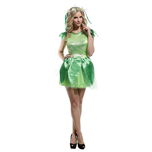 Spooktacular Women's Sweet Green Fairy Costume with Dress & Accessories, M