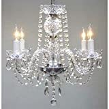 New! Authentic All Crystal Chandelier Chandeliers H17″ x W17″ SWAG PLUG IN-CHANDELIER W/ 14′ FEET OF HANGING CHAIN AND WIRE! For Sale