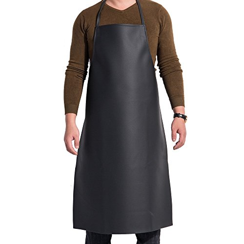 PVC Apron : Adjustable Bib Water Resistant for Grooming, Dishwashing, Cooking, Black Kitchen Aprons for Women Men Chef