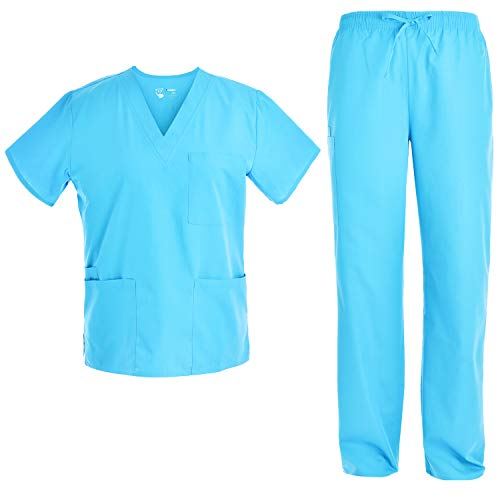Unisex V Neck Scrubs Set Medical Uniform - Women and Man Nursing Scrubs Set Top and Pants Workwear JY1601 (Turquoise, L)
