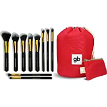 GEOLINE BEAUTY Makeup Brush Set & Cosmetic Travel Bag - Apply Your Makeup Flawlessly For The Perfect Look - Full 10 Piece Makeup Brush Set For All Your Makeup Needs - Brochas de Maquillaje con Estuche