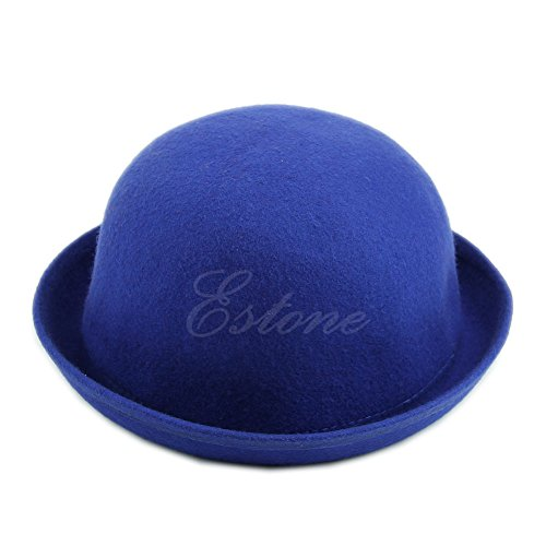 Stebcece Vogue Ladies Women Men Unisex Vintage Wool Bowler Derby Hat Cap (blue)