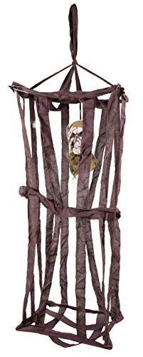 Skeleton Hanging Decoration - Halloween Caged Floating Phantom Party Decor and Prop, Ideal for Horror Themed Parties, Haunted House, Indoor Outdoor Display, 12 x 15.75 x 39 Inches