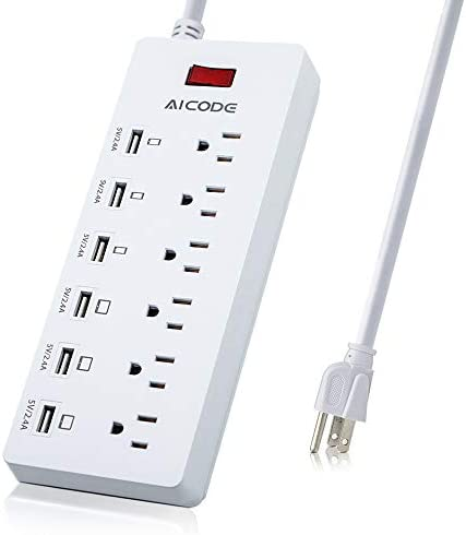 Surge Protector Power Strip with USB Charger,6 Outlets&6 USB Charging Ports, USB Extension Cord,6ft UL Cord, 1625W/13A 125V for Home & Office Appliances, Smartphones, Tablets,Laptop…