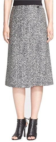 Theory Women's Gantrima Tweed Flared A-Line Wrap-Style Bouclé Skirt Black/White Size 00 by Theory