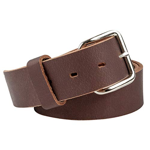Journeyman Leather Belt | Made in USA | Brown w/Silver Buckle | Size - Belt Jeans Brown Leather
