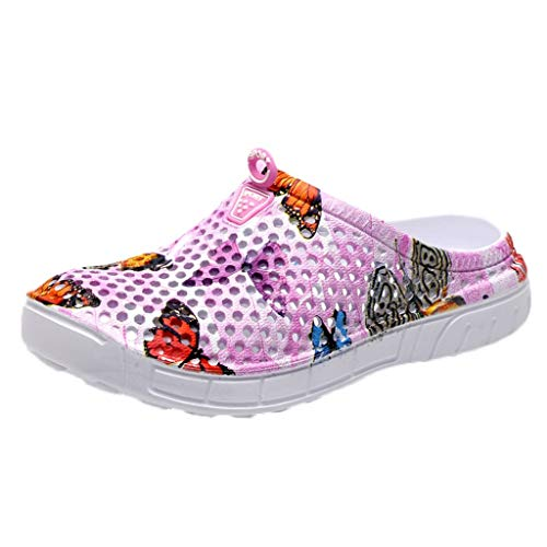 TOTOD Women's Slippers - Ladies Butterfly Print Beach Sandals Casual Hollow Breathable Flats Shoes Pink