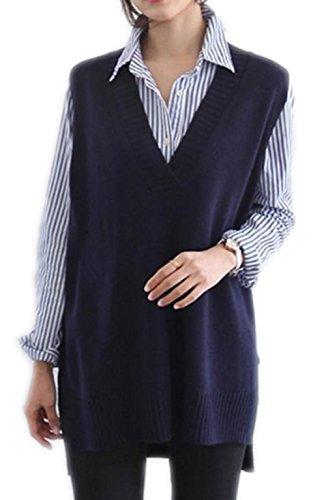 慰め運命的な両方YiTong ロング Vネック ベスト レディース 韓国風 フェミニン ニットベスト ゆったり 着痩せ 袖なし ニットセーター