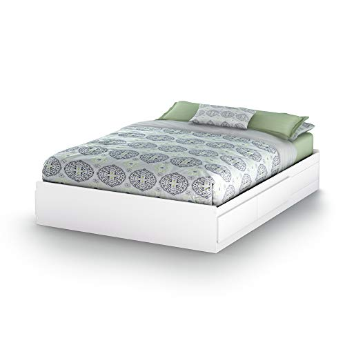 South Shore Vito Mates Bed with 2 Drawers, Queen 60-inch, Pure White (Drawers Bed Platform)
