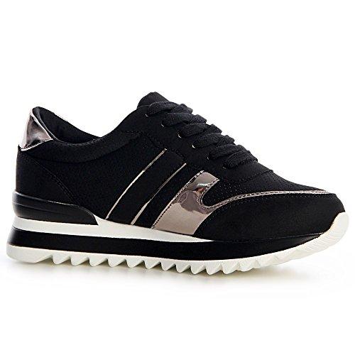 Topschuhe24 Sport Femmes De Noir 863 Baskets Chaussures 64qr6Ow