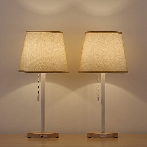 HAITRAL Bedside Desk Lamps - Eye-Caring Nightstand Table Lamps Set of 2 with Nature Beige Shade, Small Wooden Night Lamps for Bedroom, Office, Girls Room, Kids Room, Ideal Gifts (Wooden Shade Light)
