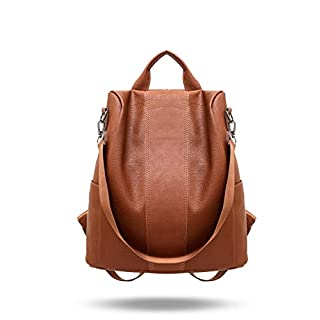 Women Backpack Purse Leather Anti-Theft Backpack Casual Satchel Shoulder Bag for Girls (Brown)