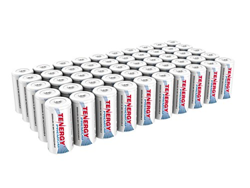 Tenergy Premium Rechargeable C Batteries, High Capacity 5000mAh NiMH C Size Battery, C Cell Battery, 50-Pack