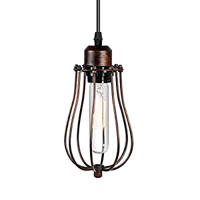 Permo Modern Vintage Industrial Rusty Brown Iron Wire Cage Hanging Pendant Light Lamp