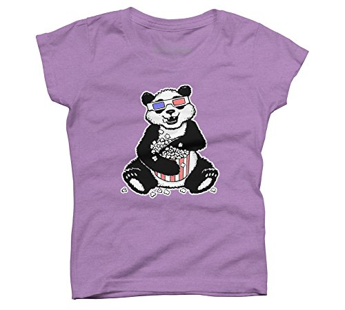 3-D Panda Girl's Medium Purple Berry Youth Graphic T Shirt (Youth Graphic)