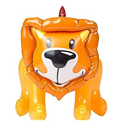 Rhode Island Novelty Inflatable Safa Jungle Zoo Lion Animal, Brown & Orange, 24 Inch: Toys & Games
