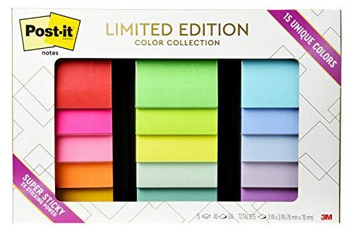 Post-it Notes Limited Edition Super Sticky Color Collection, 3×3 in, 15 Pads/Pack, 45 Sheets/Pad (654-15SSALL)
