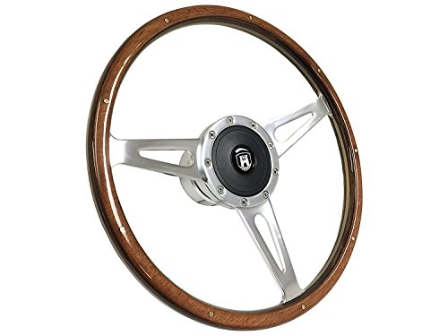 Wood Hub (1959 - 1973 VW 9 Bolt Wood Rivet Steering Wheel Kit w/Hub & Castle Emblem for Beetle Karmann Ghia Thing Fastback Squareback 411 412)