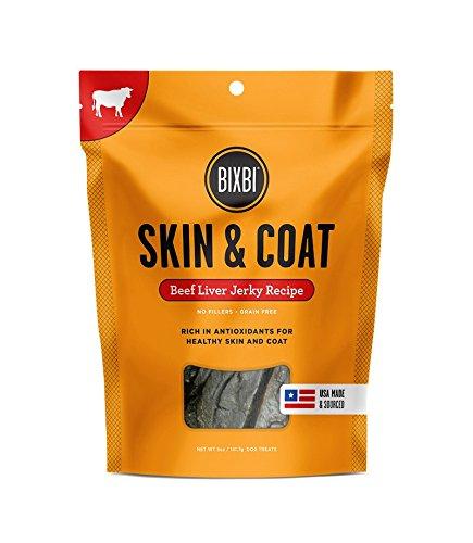 BIXBI Skin & Coat Dog Jerky Treats, Beef Liver, 5 Ounce