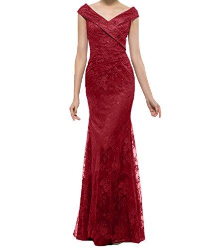 Spitze Meerjungfrau Brautmutterkleider Charmant Damen Weinrot Langes Abendkleider Festlichkleider Braun Promkleider q77Ygwxa
