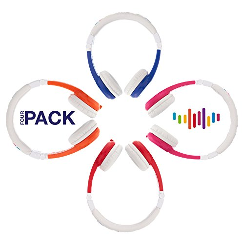Explore Foldable Volume Limiting Kids Headphones | 4-Pack - Save 20% Compared to Purchasing Single Units | Great for School! | Blue, Red, Pink & Orange by ONANOFF