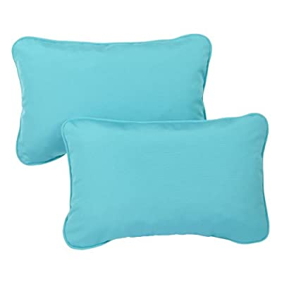 Mozaic Company Sunbrella Indoor/ Outdoor 12 by 18-inch Corded Pillow, Canvas Aruba, Set of 2 - Color:  Sunbrella Aruba Blue Materials: Acrylic fabric, filled with 100% recycled polyester fiber Weather, mildew, fade and stain resistant with UV protection - patio, outdoor-throw-pillows, outdoor-decor - 41G4Gj4weML. SS400  -